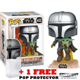 (BACKORDER) Star Wars : Mandalorian - Flying Mandalorian with the Child A.K.A Baby Yoda #402 Pop Vinyl Figure Funko