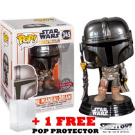 Star Wars : The Mandalorian - Mando with Blaster Chrome #345 Pop Vinyl Funko Exclusive