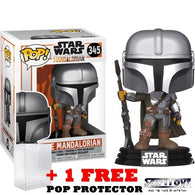 Star Wars : Mandalorian - Mandalorian with Blaster Metallic #345 Pop Vinyl Figure Funko