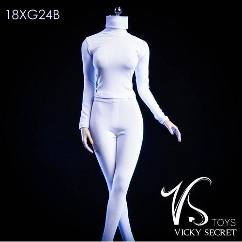 1:6 Custom Female Figure - White Tights High Collar Outfit 18XG24B Vicky Secret Toys
