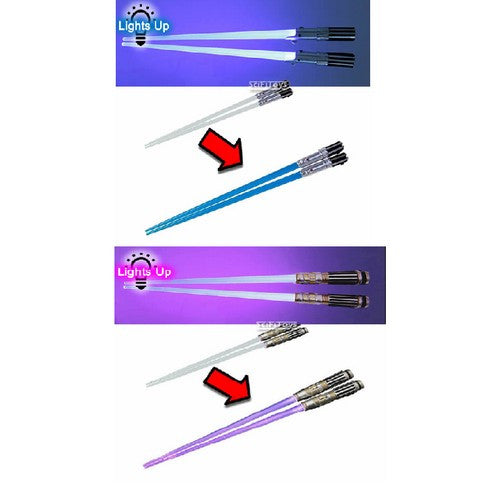 Star Wars - Mace Windu and Luke Skywalker Light Up Lightsaber Chopsticks Set Kotobukiya
