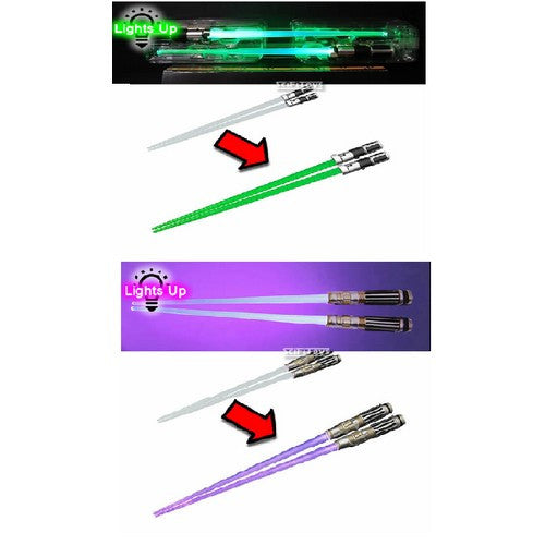 DINNER FOR TWO : Star Wars - Light Up Lightsaber Chopsticks JEDI MASTER Set:  Mace Windu & Yoda Kotobukiya