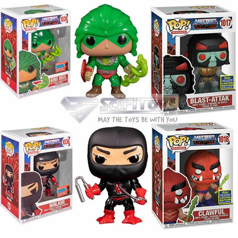 Masters of the Universe Bundle - Ninjor King Hiss NYCC 2020 Blast Attak Clawful SDCC 2020 Pop vinyl Funko Exclusive