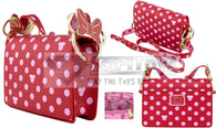 "9"" Disney : Minnie Mouse - Pink Polka Dot Faux Leather Crossbody Bag Loungefly"
