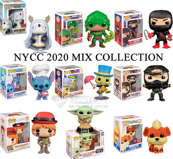 NYCC 2020 Bundle - Kaguya Baby Yoda Ron King Hiss Ninjor Jiminy Dwight Stitch Pop vinyl Funko Exclusive