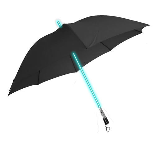 LED Light up BLUE Lightsaber Style Umbrella (BLACK)