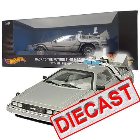 1 :18 Back to the Future 2 - Delorean with MR FUSION Diecast Time Machine Hot Wheels