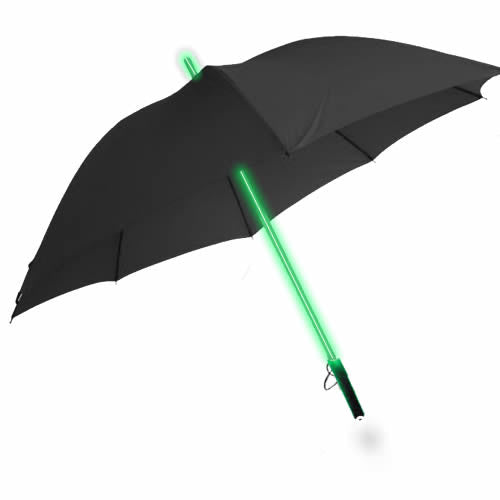LED Light up Lightsaber Style Umbrella + torch (GREEN)