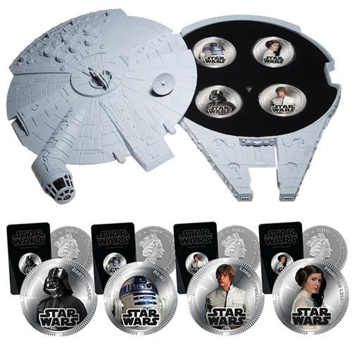 Star Wars Official Silver Plated 4 Coins Sfx Case Set Sfx
