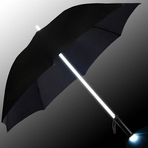 LED Light up Lightsaber Style Umbrella + torch (WHITE)