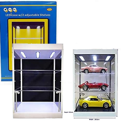 1:6 Figure 1:18 Model Vehicles Clear Display Case / Box with USB Powered LEDs, Mirror & 2 Adjustable Shelves