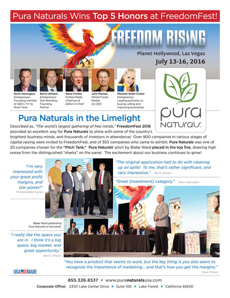 Pura Naturals Wins Top Honors at FreedomFest 2016 in Las Vegas