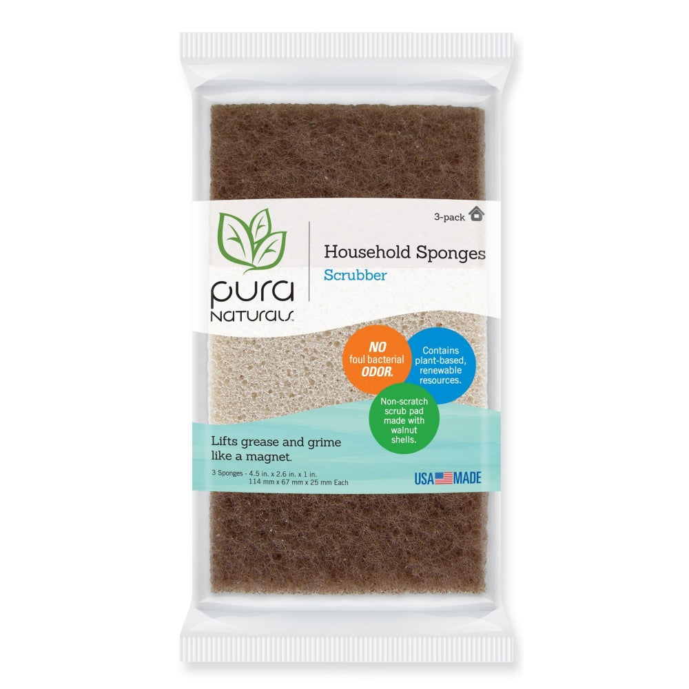 Rectangle Walnut Non-Scratch Scrubber - 3 Pack