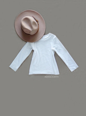 (Flutter Sleeve- optional) White Stretch Long Sleeve Top