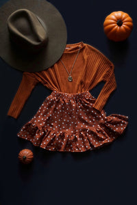 Pumpkin Polka Dot Ruffled Skirt