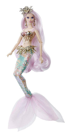 Barbie Collector: Mermaid Enchantress Fantasy Doll, 11.5-Inch, with Sequined Mermaid Tail, Pink and Blue Hair and Golden Accessories