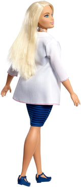 Barbie Doctor Doll, Curvy, Dressed in White Coat with Stethoscope and Blonde Hair, Gift for 3 to 7 Year Olds