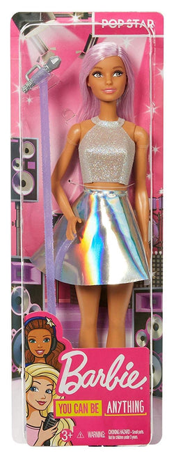 Barbie Pop Star Doll Dressed in Iridescent Skirt with Microphone and Pink Hair, Gift for 3 to 7 Year Olds