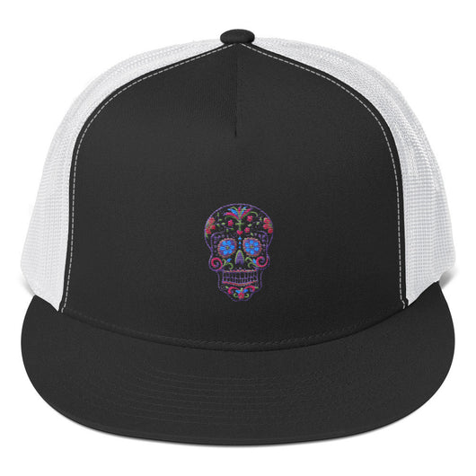 Sugar Skull Embroidered Trucker Cap