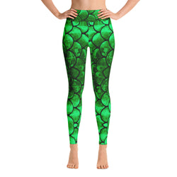 Green Mermaid Scale Yoga Leggings