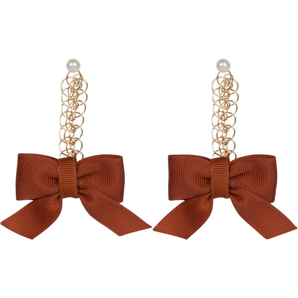 Burnt Orange Bow Earrings