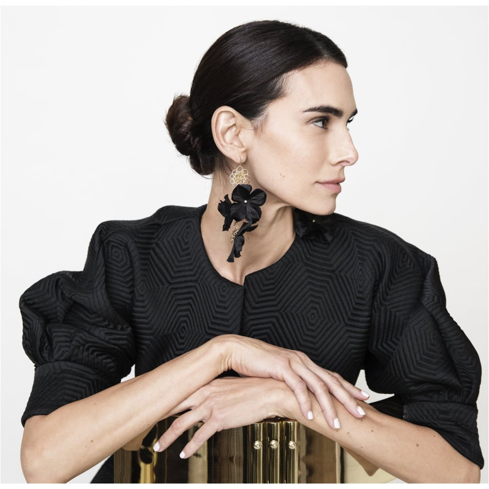 The SIL - Cassandra King Polidori - Black Floral Earrings