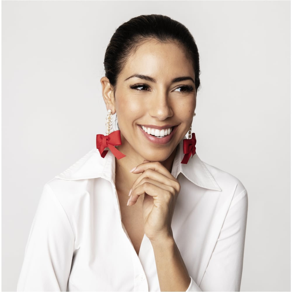 The SIL - Cassandra King Polidori - Natalie Bow Earrings: Crimson
