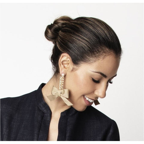 Natalie Bow Earrings: Khaki