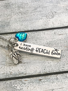 Resting beach face - Hand stamped necklace - Beach