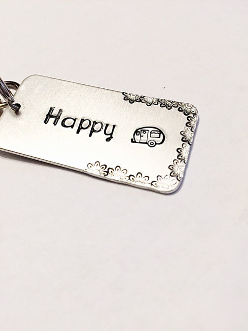 Hand stamped jewelry - Hand stamped key chain -
