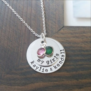 My Girls Necklace with Birthstones