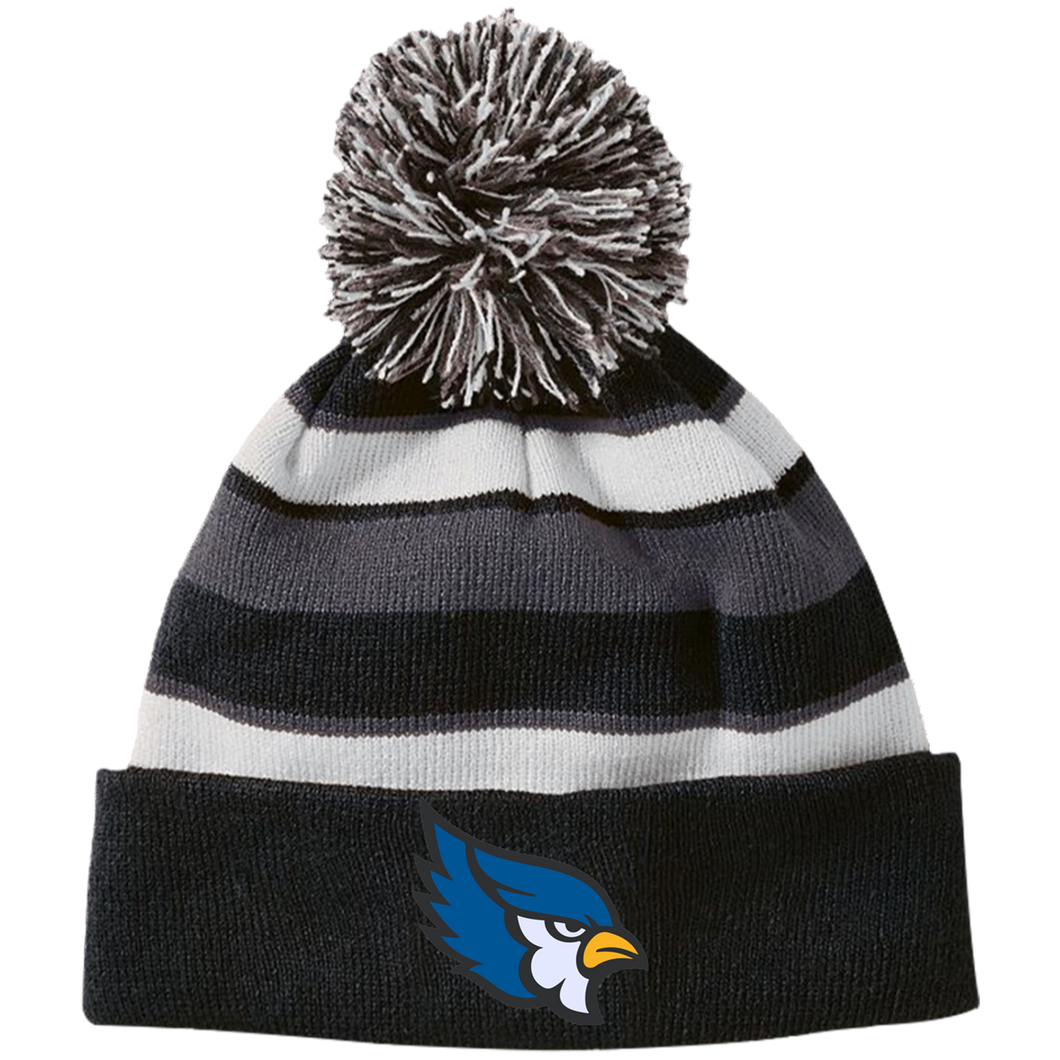 High Point Striped Beanie with Pom