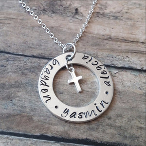 Personalized Necklace with Kids Names and Cross Charm
