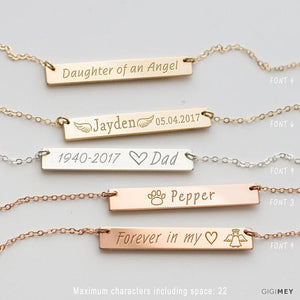 Personalized Memorial Necklace, Remembrance