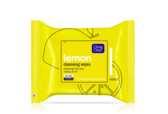 Clean & Clear Oil-Free Lemon Face Cleanser Wipes with Vitamin C, 25 ct