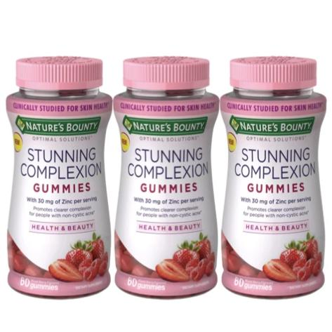 Nature's Bounty® Optimal Solutions Stunning Complexion, with Zinc, 60 Gummies - 3 packs