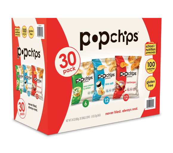 Popchips Variety Pack, 0.8 oz, 30 Count