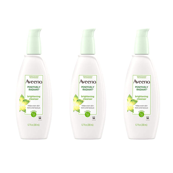Aveeno Positively Radiant Brightening Facial Cleanser, 6.7 fl. oz - 3 packs