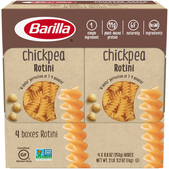 Barilla Legume Pasta Chickpea Rotini, 8.8 oz (Pack of 4) Gluten Free, High Protein, & All Natural Ingredients