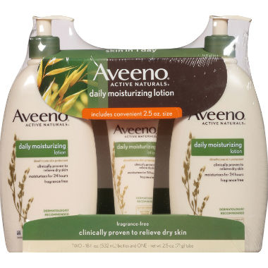 Aveeno Daily Moisturizing Lotion (18 fl. oz., 2 pk. with 2.5 oz. Tube)