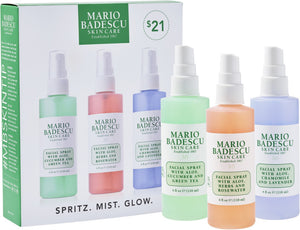 Mario Badescu Spritz. Mist. Glow. Set of 3 -  4oz, 118ml