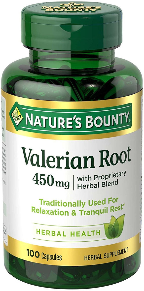 Nature's Bounty Valerian Root Herbal Supplement Capsules, 450mg, 100 count