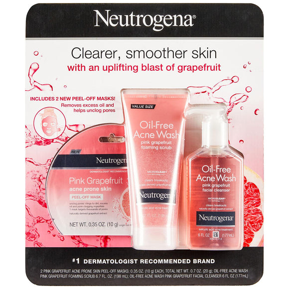 Neutrogena Oil Free Acne Wash Pink Grapefruit Foaming Scrub 6.7oz + Facial Cleanser 6oz + 2 Peel-Off Masks