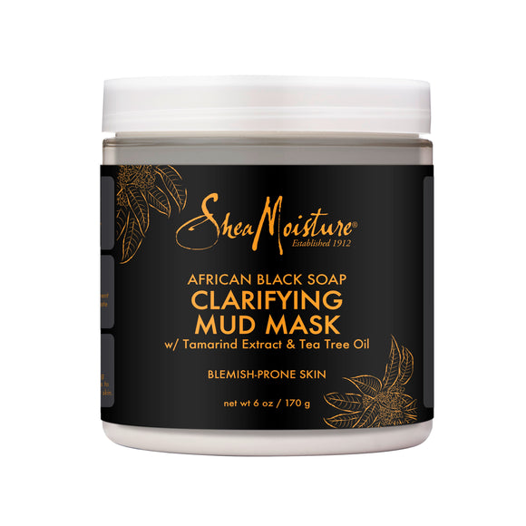 SheaMoisture Clarifying Mud Mask for Oily, Blemish-Prone Skin African Black Soap to Clarify Skin 6 oz