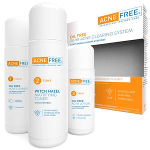 AcneFree Oil Free 24 HR Acne Treatment Kit, 3 Step Acne Clearing System