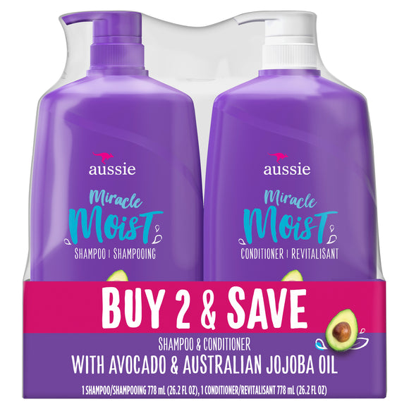 Aussie Miracle Moist with Avocado & Jojoba Oil, Paraben Free Shampoo & Conditioner, 26.2 fl oz Dual Pack