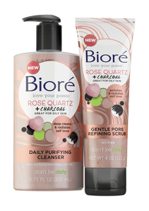 Biore Rose Quartz + Charcoal Facial Cleanser & Scrub