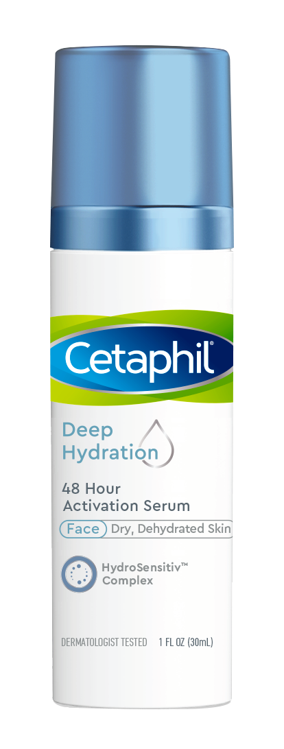 Cetaphil Deep Hydration 48 Hour Activation Serum, 48 Hour Dry Skin Face Moisturizer for Sensitive Skin, With Hyaluronic Acid, Vitamin E & Vitamin B5, Dermatologist Recommended, 1 fl oz