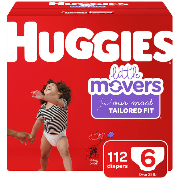 Huggies Little Movers Diapers, Size 6 -112 ct. (Over 35 lbs.)