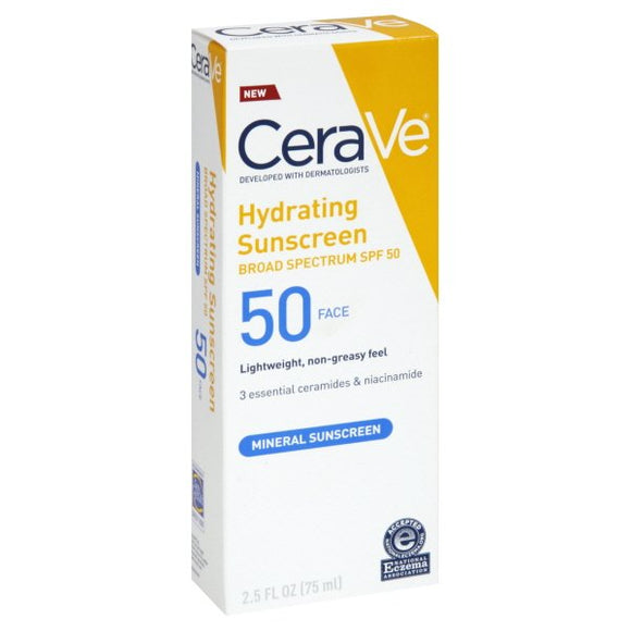 CeraVe Hydrating Face Sunscreen SPF 50, Lightweight Mineral Sunscreen, 5 Fl Oz